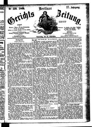 Berliner Gerichts-Zeitung vom 23.09.1869