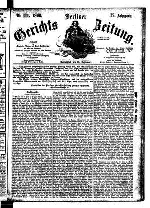 Berliner Gerichts-Zeitung vom 25.09.1869