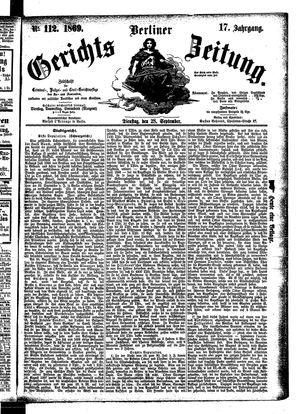 Berliner Gerichts-Zeitung vom 28.09.1869