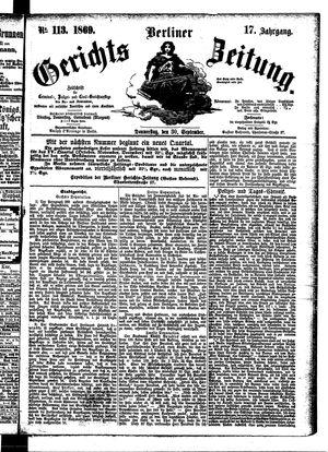 Berliner Gerichts-Zeitung on Sep 30, 1869