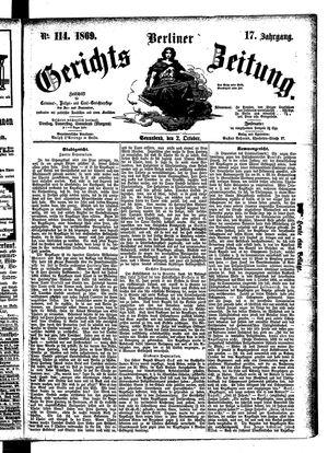 Berliner Gerichts-Zeitung vom 02.10.1869