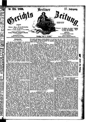 Berliner Gerichts-Zeitung vom 05.10.1869