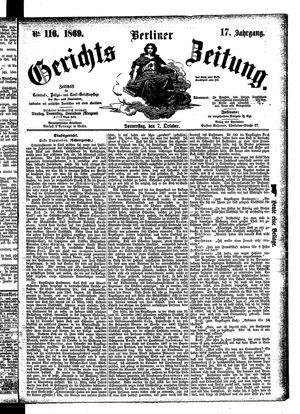 Berliner Gerichts-Zeitung vom 07.10.1869