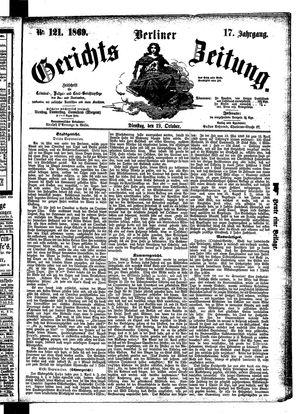 Berliner Gerichts-Zeitung vom 19.10.1869