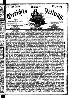 Berliner Gerichts-Zeitung vom 09.11.1869
