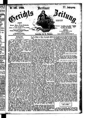 Berliner Gerichts-Zeitung vom 25.11.1869