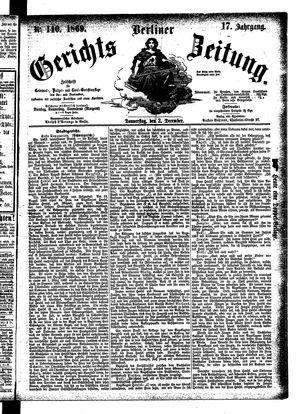 Berliner Gerichts-Zeitung vom 02.12.1869