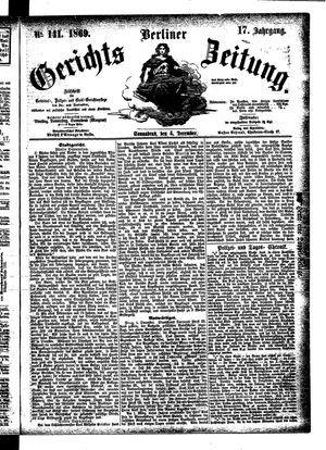 Berliner Gerichts-Zeitung vom 04.12.1869
