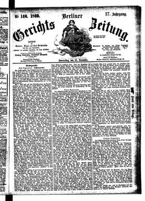 Berliner Gerichts-Zeitung vom 16.12.1869