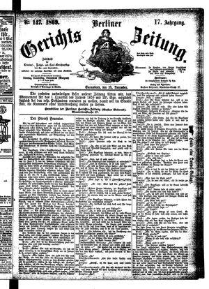 Berliner Gerichts-Zeitung vom 18.12.1869