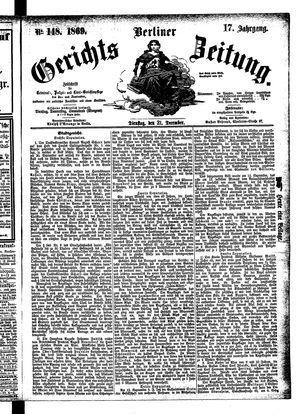 Berliner Gerichts-Zeitung vom 21.12.1869
