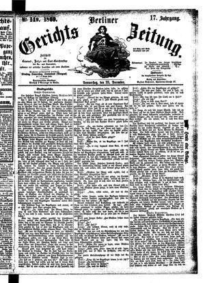 Berliner Gerichts-Zeitung vom 23.12.1869