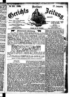 Berliner Gerichts-Zeitung vom 28.12.1869