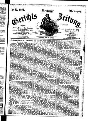 Berliner Gerichts-Zeitung vom 10.02.1872