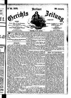 Berliner Gerichts-Zeitung vom 29.02.1872