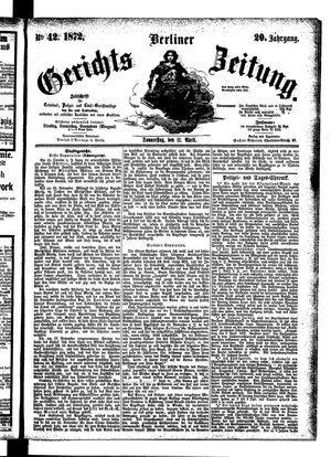 Berliner Gerichts-Zeitung vom 11.04.1872