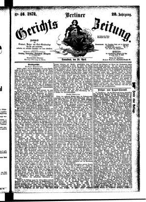 Berliner Gerichts-Zeitung vom 20.04.1872