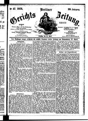 Berliner Gerichts-Zeitung vom 23.04.1872