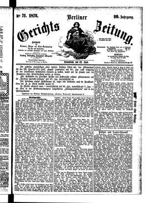 Berliner Gerichts-Zeitung vom 22.06.1872