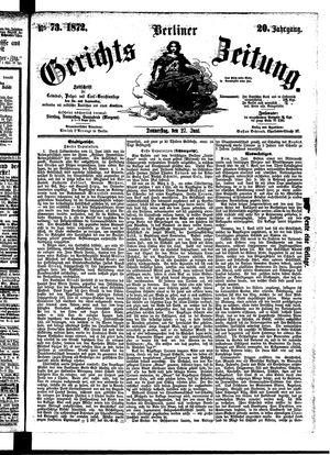 Berliner Gerichts-Zeitung vom 27.06.1872
