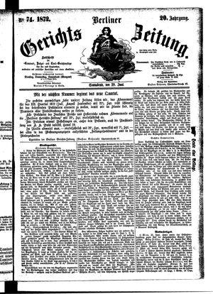 Berliner Gerichts-Zeitung vom 29.06.1872
