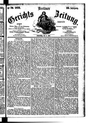 Berliner Gerichts-Zeitung vom 04.07.1872