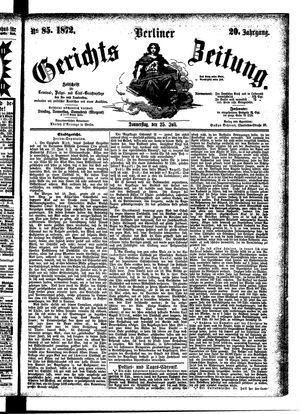 Berliner Gerichts-Zeitung vom 25.07.1872