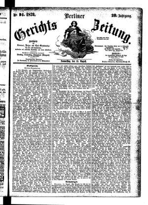 Berliner Gerichts-Zeitung vom 15.08.1872