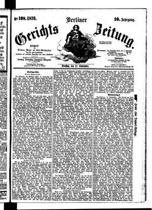 Berliner Gerichts-Zeitung vom 17.09.1872