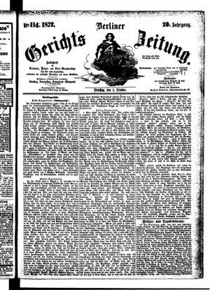 Berliner Gerichts-Zeitung vom 01.10.1872