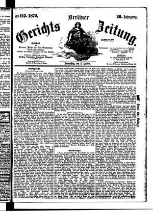 Berliner Gerichts-Zeitung vom 03.10.1872
