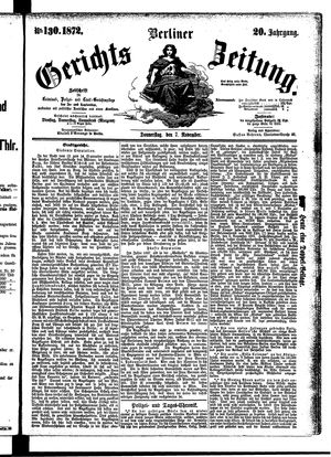 Berliner Gerichts-Zeitung vom 07.11.1872
