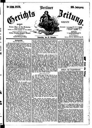 Berliner Gerichts-Zeitung vom 28.11.1872