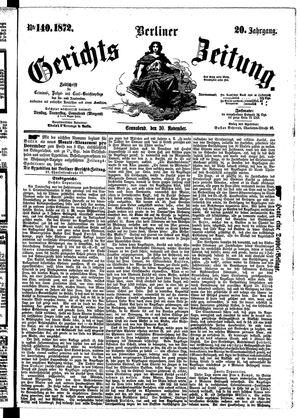 Berliner Gerichts-Zeitung vom 30.11.1872