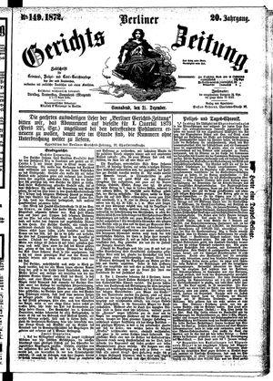 Berliner Gerichts-Zeitung vom 21.12.1872