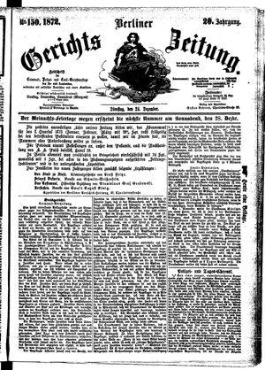 Berliner Gerichts-Zeitung vom 24.12.1872