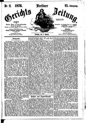 Berliner Gerichts-Zeitung vom 07.01.1873