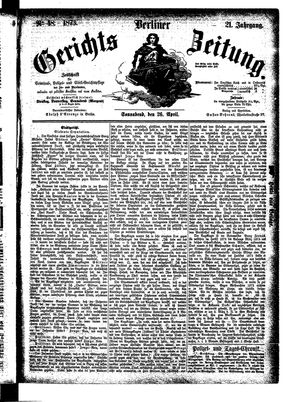 Berliner Gerichts-Zeitung on Apr 26, 1873