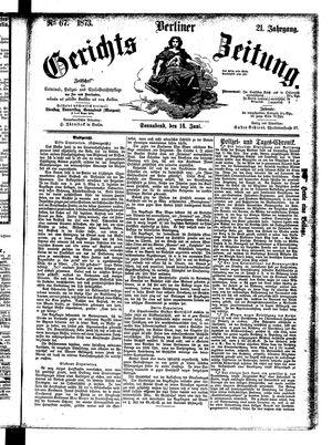 Berliner Gerichts-Zeitung vom 14.06.1873