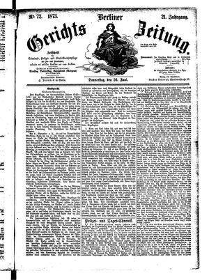 Berliner Gerichts-Zeitung vom 26.06.1873