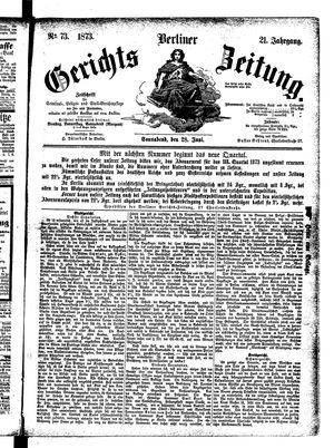 Berliner Gerichts-Zeitung vom 28.06.1873