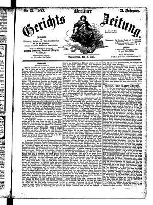 Berliner Gerichts-Zeitung vom 03.07.1873