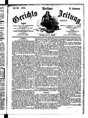 Berliner Gerichts-Zeitung vom 12.08.1873