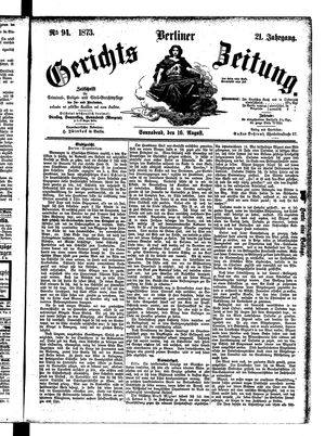 Berliner Gerichts-Zeitung vom 16.08.1873