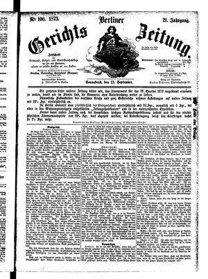 Berliner Gerichts-Zeitung vom 13.09.1873
