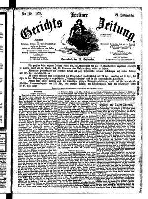 Berliner Gerichts-Zeitung vom 27.09.1873