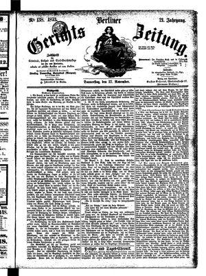 Berliner Gerichts-Zeitung vom 27.11.1873