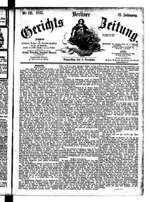 Berliner Gerichts-Zeitung vom 04.12.1873