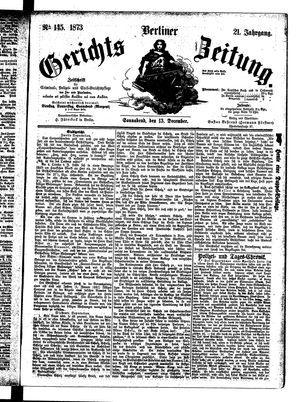 Berliner Gerichts-Zeitung vom 13.12.1873
