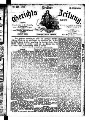 Berliner Gerichts-Zeitung vom 18.12.1873